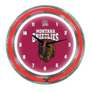 Montana Grizzlies Neon Wall Clock | Moneymachines.com