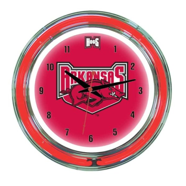 Arkansas Razorbacks Neon Wall Clock   Moneymachines.com
