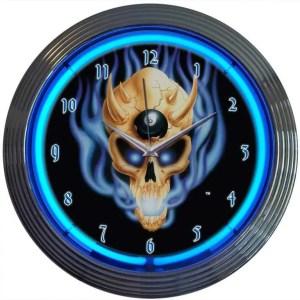 Billiard Skull Neon Clock | moneymachines.com