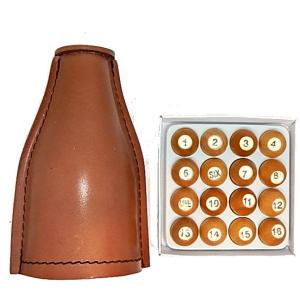 Deluxe Leather Kelly Pool Pea Shaker Set | moneymachines.com