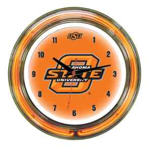 Oklahoma State Cowboys Neon Wall Clock | Moneymachines.com