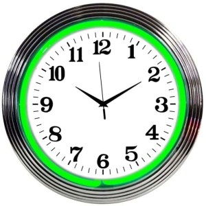 ALPHANUMERIC – CHROME RIM GREEN NEON CLOCK – 8CHRCG   moneymachines.com