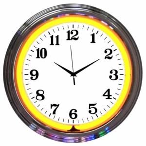 ALPHANUMERIC – CHROME RIM ORANGE NEON CLOCK – 8CHRCO   moneymachines.com