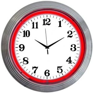 ALPHANUMERIC – CHROME RIM RED NEON CLOCK – 8CHRCR   moneymachines.com