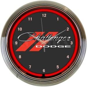 AUTO – DODGE CHALLENGER RED NEON CLOCK – 8CLGCK   moneymachines.com