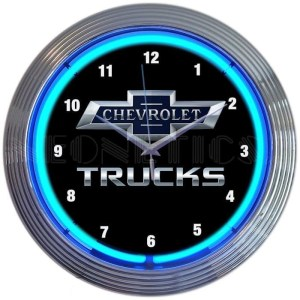 AUTO – GM – CHEVY TRUCKS 100TH ANNIVERSARY BLUE NEON CLOCK – 8CHVTK   moneymachines.com