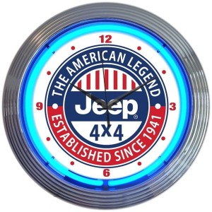 AUTO – JEEP THE AMERICAN LEGEND BLUE NEON CLOCK – 8JEEPX | moneymachines.com