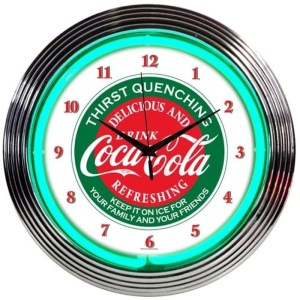 COCA-COLA EVERGREEN NEON CLOCK – 8CCGRN | moneymachines.com