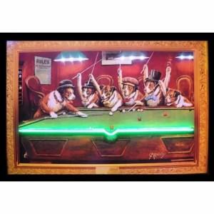 DOGS PLAYING POOL NEON/LED – 3DOGNL | moneymachines.com