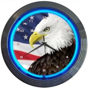 EAGLE USA FLAG NEON CLOCK – 8EGFLG | moneymachines.com