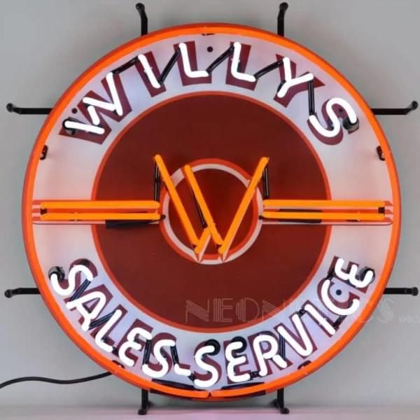 JEEP WILLYS SALES SERVICE NEON SIGN – 5JEEPW   moneymachines.com