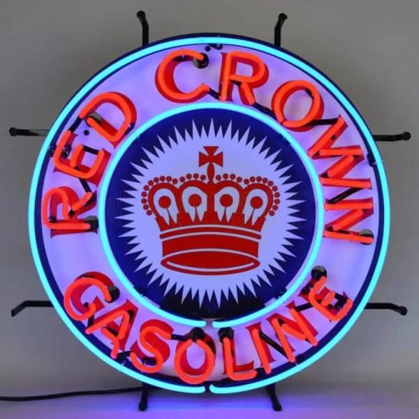 RED CROWN GASOLINE NEON SIGN – 5CROWN   moneymachines.com