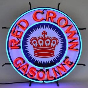 RED CROWN GASOLINE NEON SIGN – 5CROWN | moneymachines.com