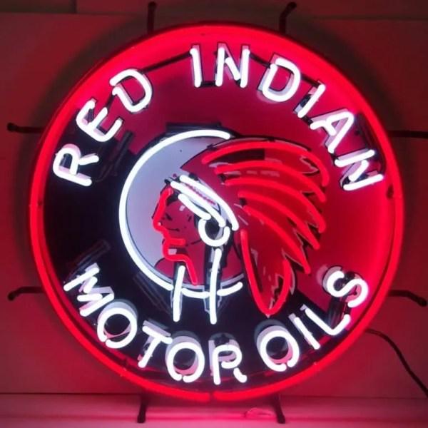 RED INDIAN MOTOR OILS NEON SIGN – 5GSIND | moneymachines.com