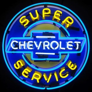 SUPER CHEVROLET SERVICE NEON SIGN WITH BACKING – 5CHEVYB | moneymachines.com
