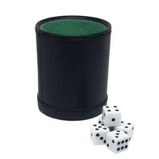 Leatherette Dice Cup With Five Dice by Fat Cat - 55-0100 | moneymachines.com
