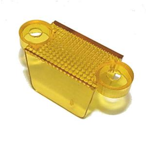 1 1/4″ transparent yellow double sided pinball machine lane apron guide. 1-1/4″ from center of mounting hole to center of mounting hole. Overall length is 1-3/4 | moneymachines.com