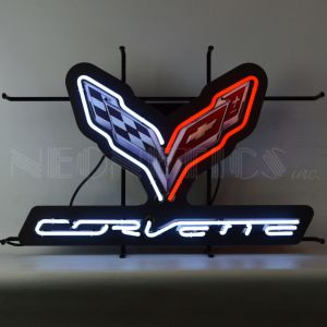 CORVETTE C7 FLAGS NEON SIGN WITH BACKING – 5C7COR | moneymachines.com