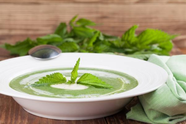 Bowl of nettle soup with yoghurt