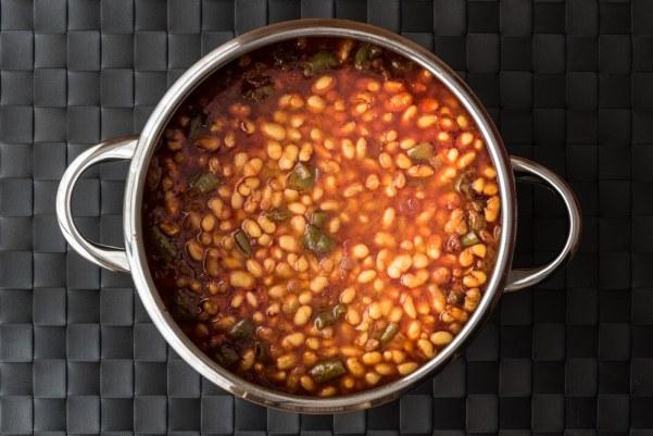 Baked Bean and fish hot-pot