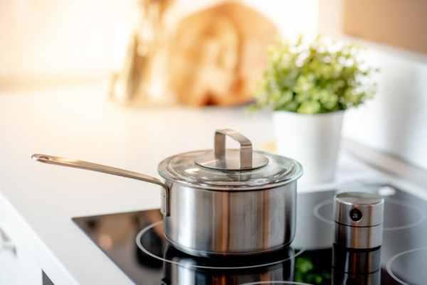 Saucepan with lid on