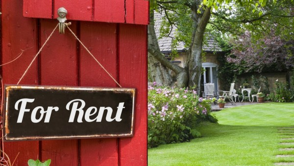 Garden with for rent sign on the gate