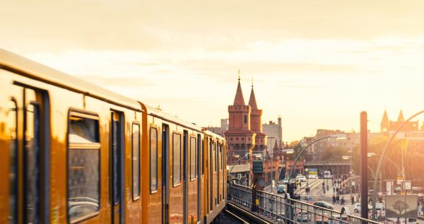 Berlin train at sunset