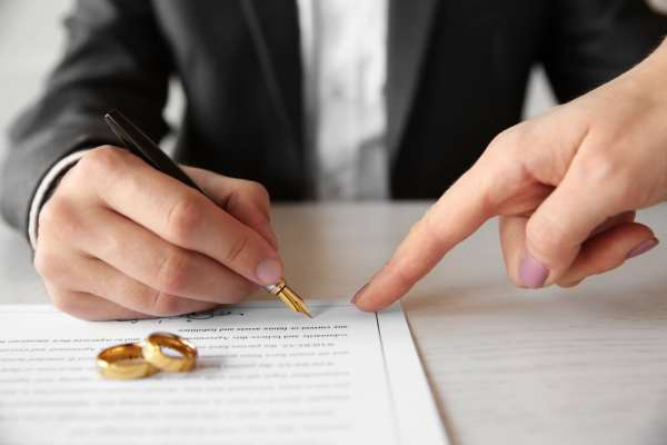 Couple signing a prenuptial agreement