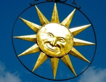sunshine, sun, blue sky, wheel, sun sign, man in the sun