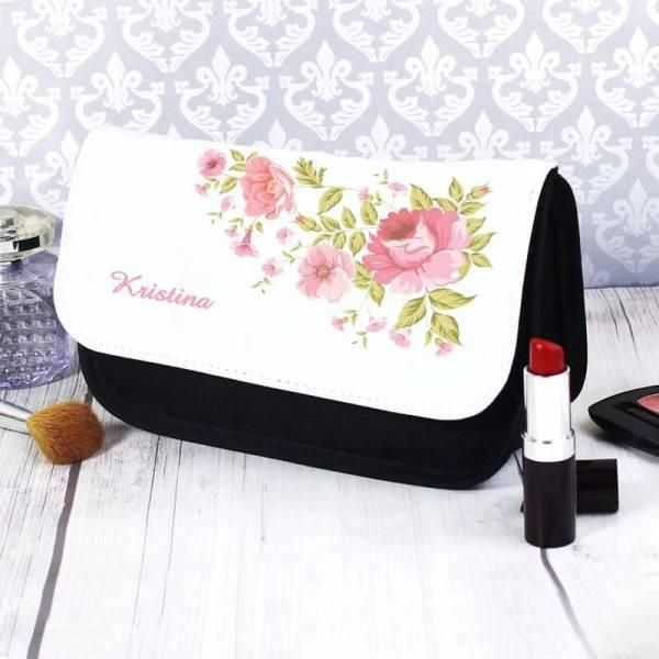Personalised Rose Makeup Bag
