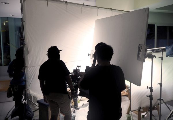Film crew on set in home