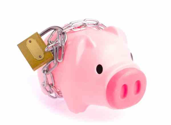 Padlocked piggy bank