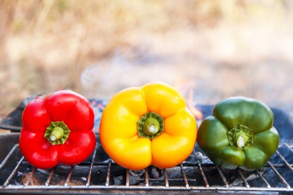 Yellow/Green/Red peppers on a barbecue grill