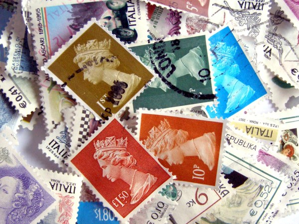 Pile of different British stamps