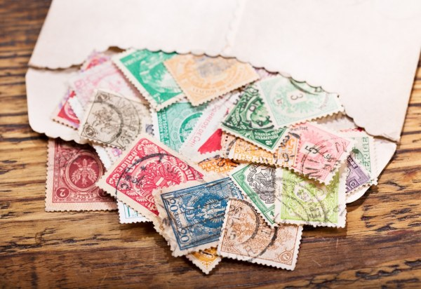 Envelope full of old stamps