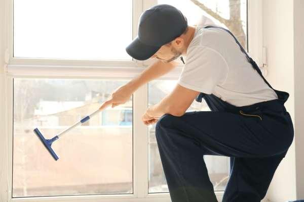 Male window cleaner