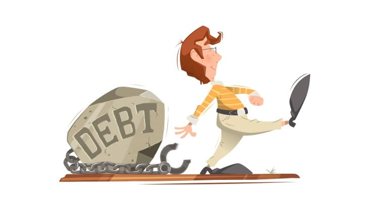 Cartoon man walking away from debt labelled boulder