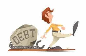 Cartoon man walking away from debt labelled boulder