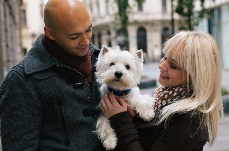 Couple holding dog - maintain your money ambitions