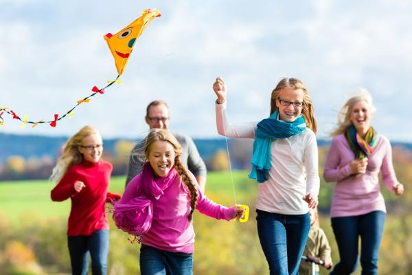 Family flying a kite together
