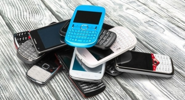 Pile of old mobile phones
