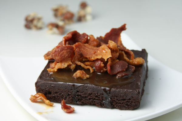 Brownie with bacon pieces on
