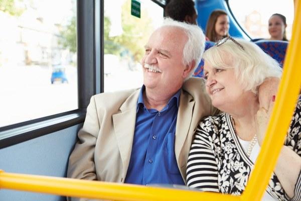 Elderly couple on public bus