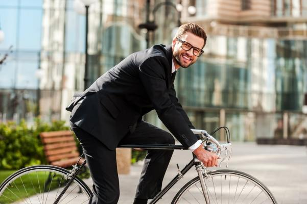 Business Man on Bicycle
