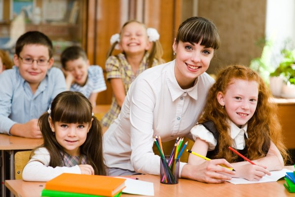 Young female primary school teacher