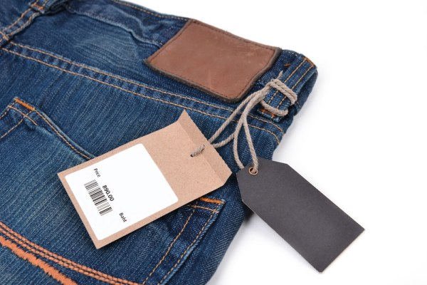 Jeans with price tag