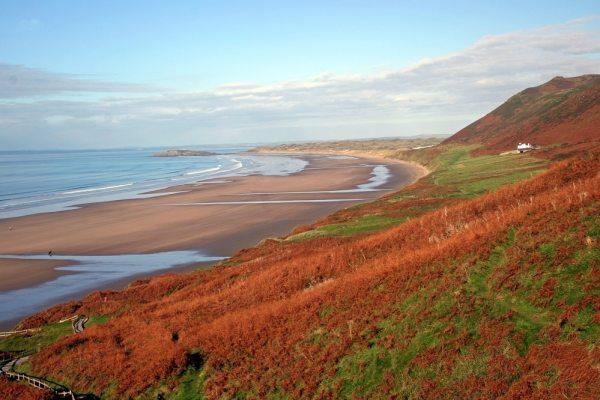 Rhossili Beach in Swansea, Wales