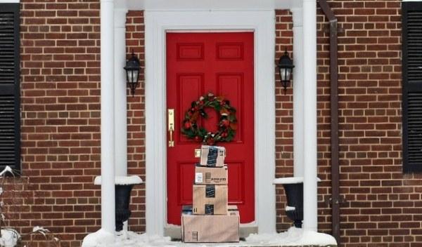 Amazon boxes on Christmas doorstep