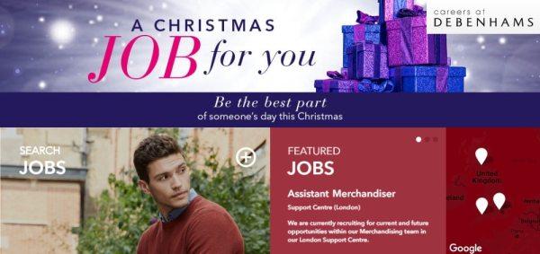 Debenhams Christmas Jobs Banner