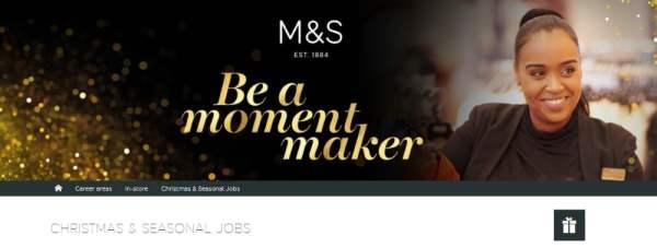 M&S Christmas Jobs Website Banner